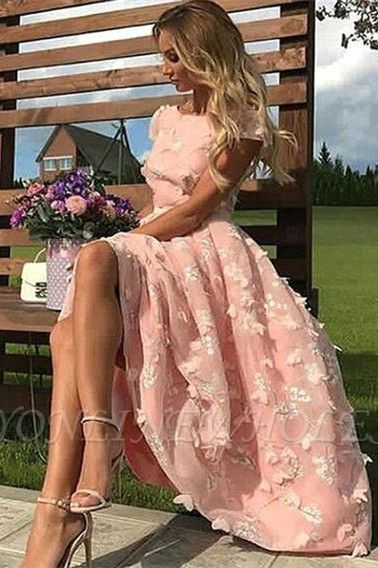 Beautiful Pink Lace Round Neck Cap Sleeves Prom Dresses | Ankle Length Party Gowns