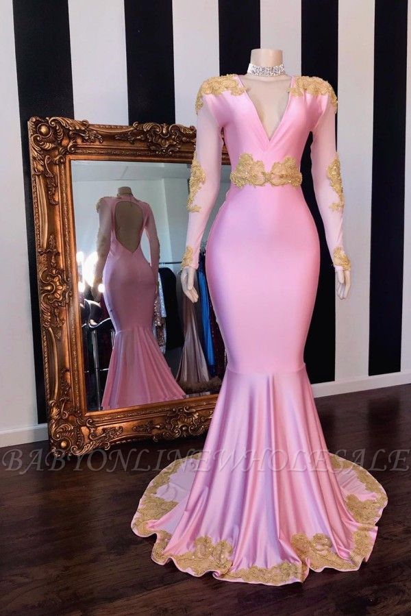 V-neck Long Sleeves Open Back Pink Mermaid Appliques Prom Gowns
