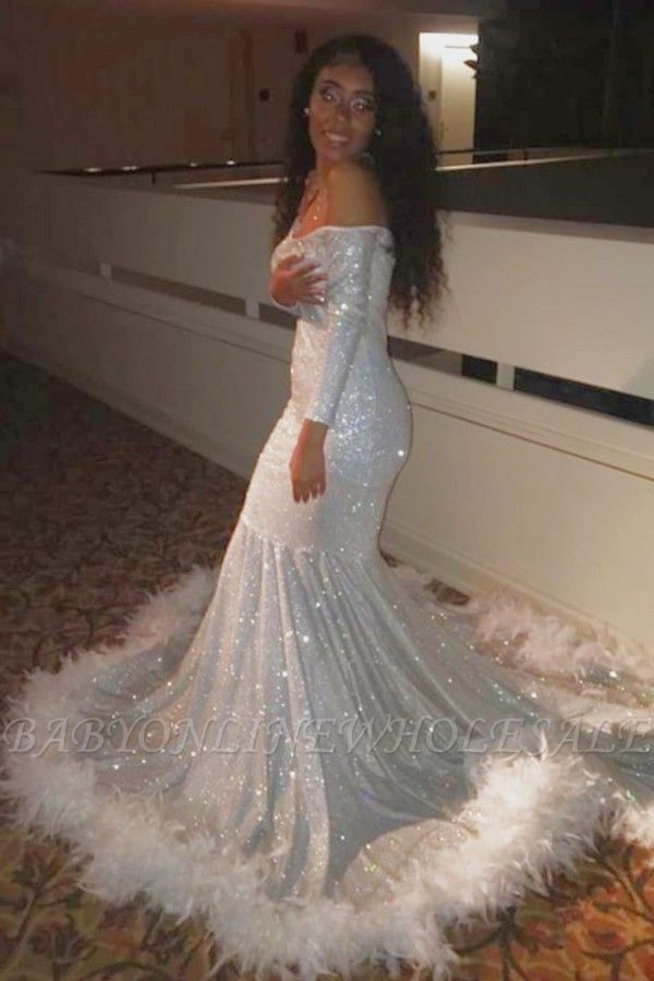 Off-the-shoulder Sequins Fur Trim Court Train Mermaid Prom Gowns