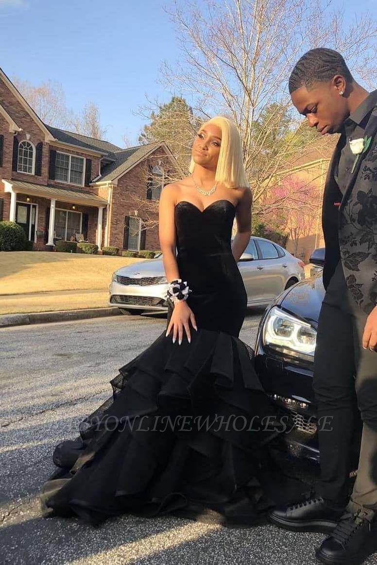 Sweetheart Strapless Ruffled Tulle Black Mermaid Prom Dresses