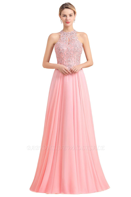 Bescheidene rosa Birnen Perlen A-Linie Halfter Brautjungfernkleider