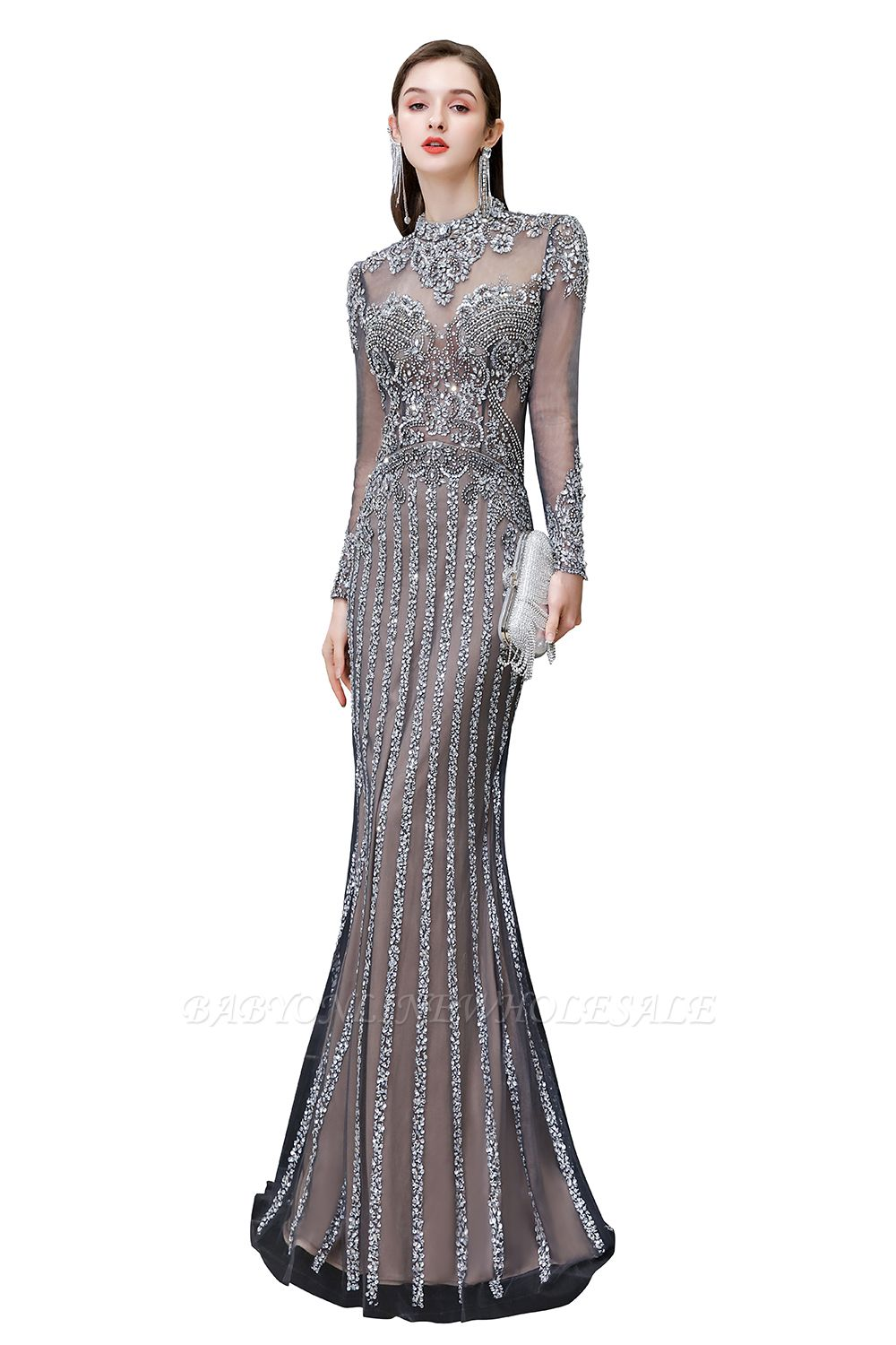 Luxury Sparkle Cap sleeves High neck Beads Long Prom Dresses