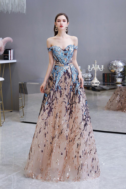 Funkeln Sie von der Schulter Rainbow Pailletten A-Linie Long Prom Dress