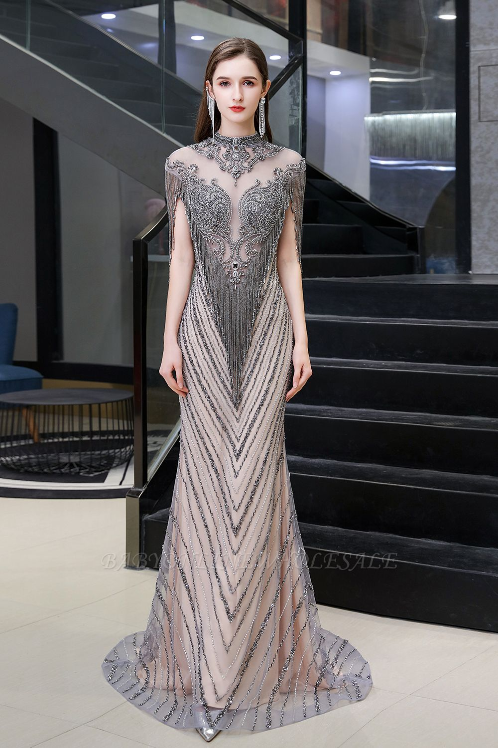 Cap sleeves High neck Sparkle Beads Long Prom Dresses Online