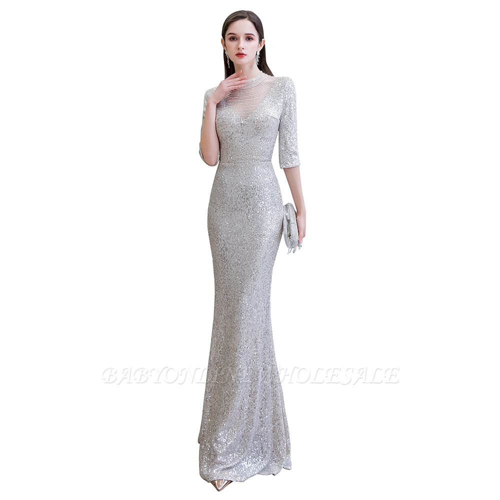 Gorgeous Silver Long sleeves Long Prom Dress
