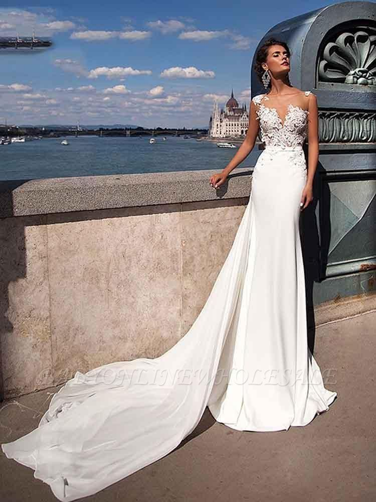 Straps Sheer Tulle Appliques Wedding Dresses | Mermaid Tulle Cheap Bridal Gowns