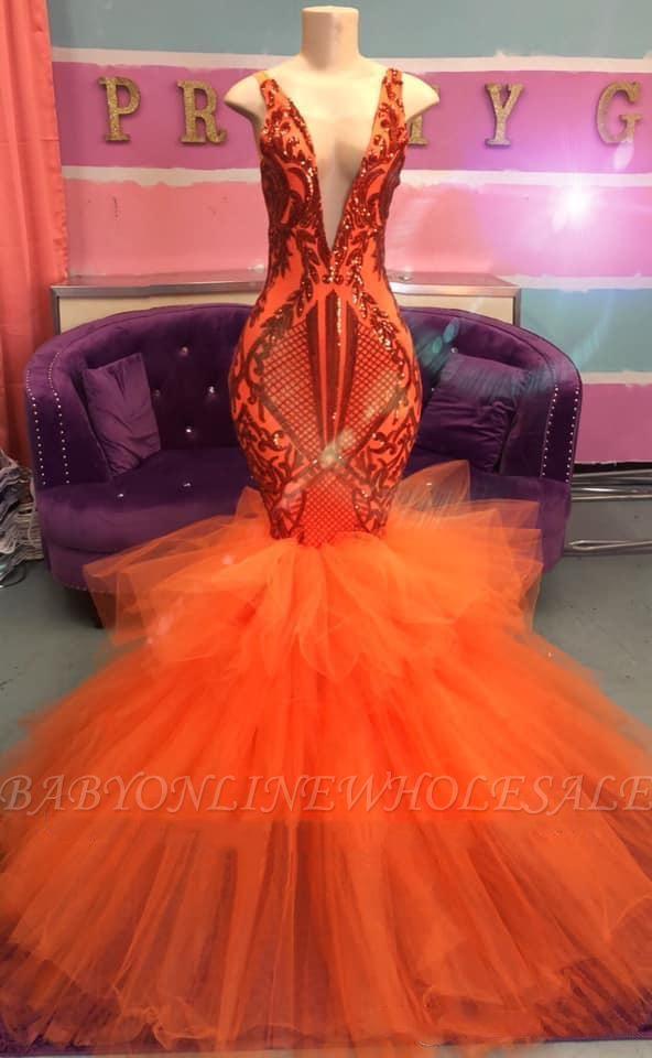 Sexy Sleeveless Deep V-neck Tulle Puffy Train Orange Prom Dress
