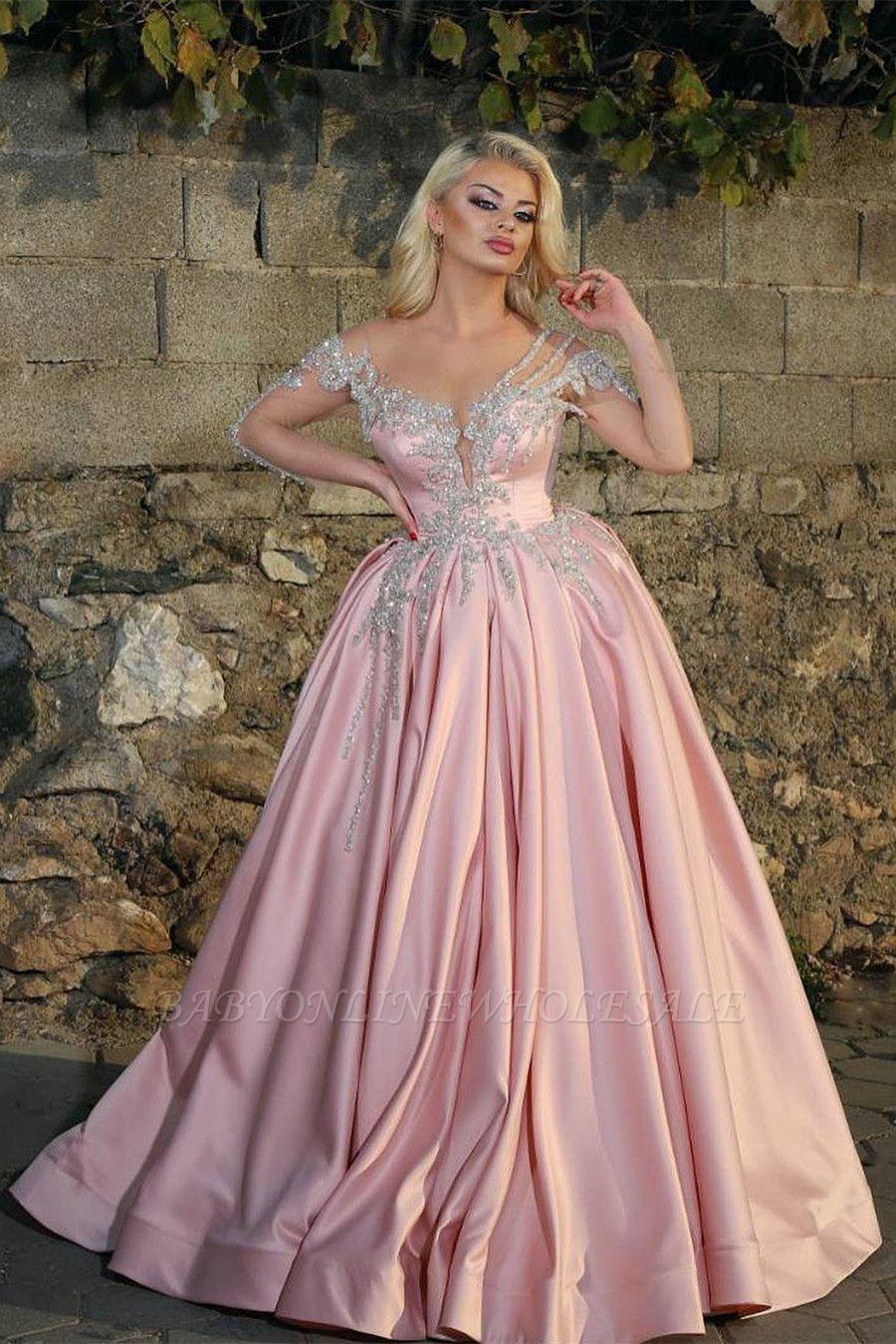 Glamorous Princess V Neck manches longues robes de bal avec des perles | Robes de bal roses pas chères
