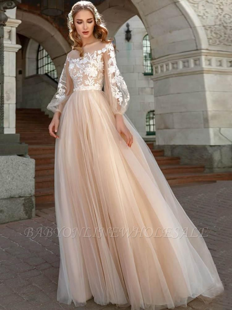 Chic Appliques Long Sleeve A-line Wedding Dresses | Pleated Tulle Floor Length Bridal Gowns