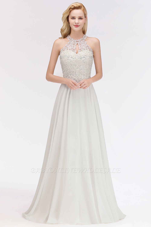 Robes de demoiselle d'honneur licou A-ligne de perles de poires roses modestes