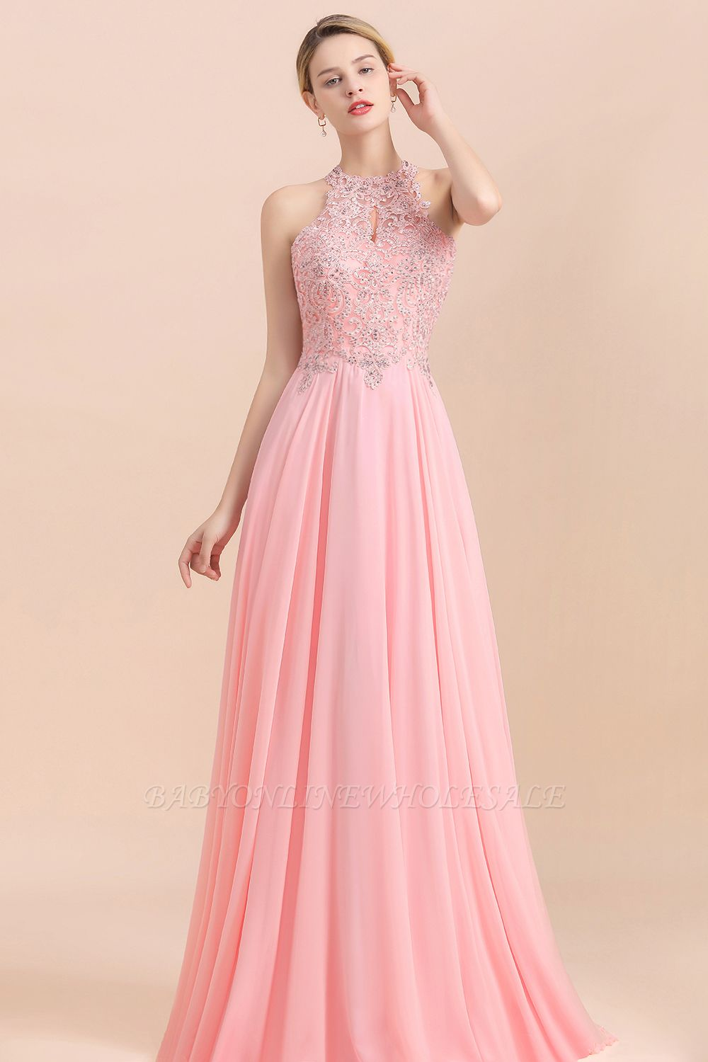 Modest Pink Pears Beaded A-line Halter Bridesmaid Dresses