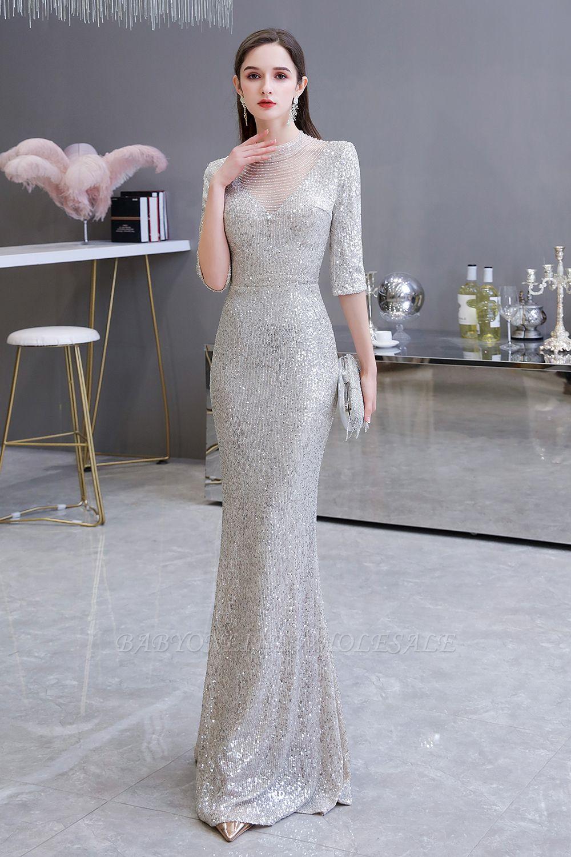 Lindo prata mangas compridas barato longo vestido de baile