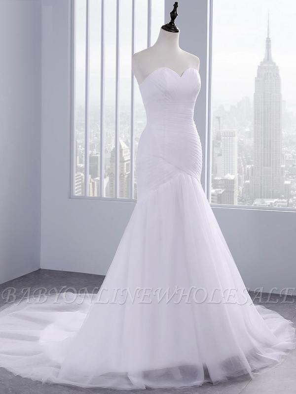 Trägerlose Schatz Meerjungfrau Brautkleider | Spitze Rüschen Tüll Brautkleider
