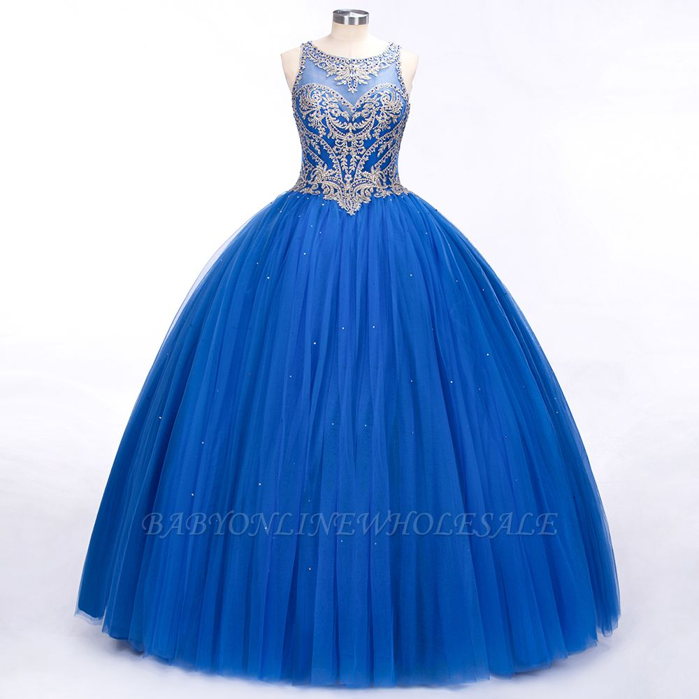 Royal Blue Illusion neck Ball Gown Fully Beaded Bodice Prom Dress