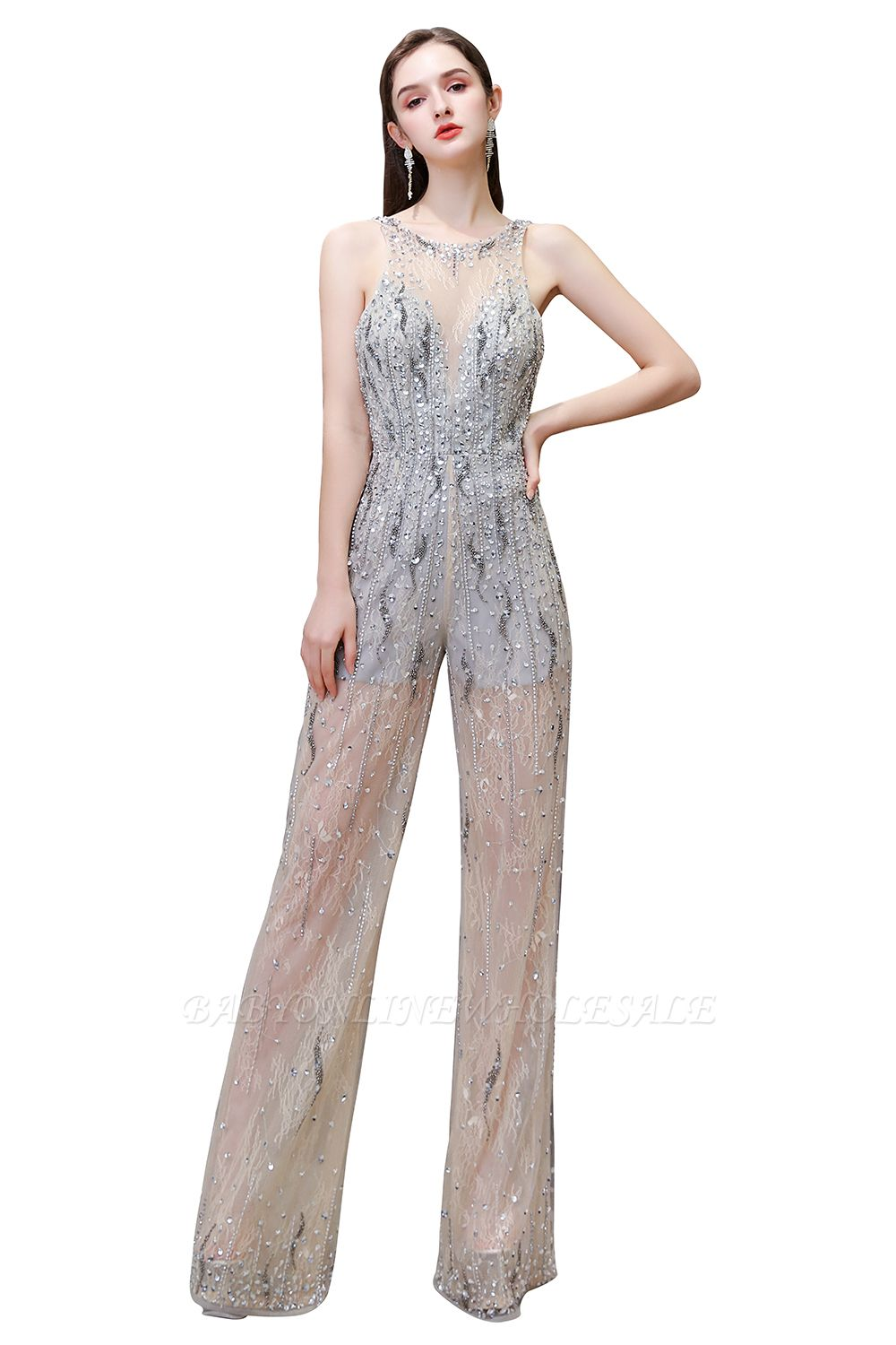 Sparkle Illusion High neck See-through Prom Jumpsuit