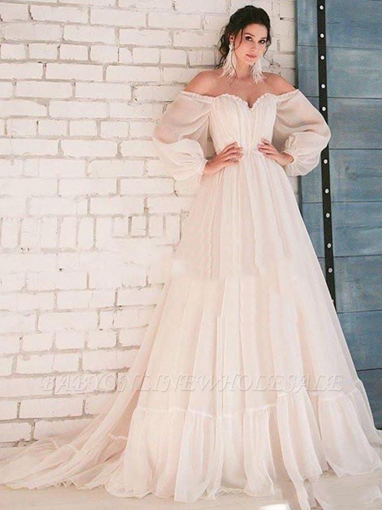 Off The Shoulder Cheap Boho Wedding Dresses | A-line Pleated Bridal Gowns