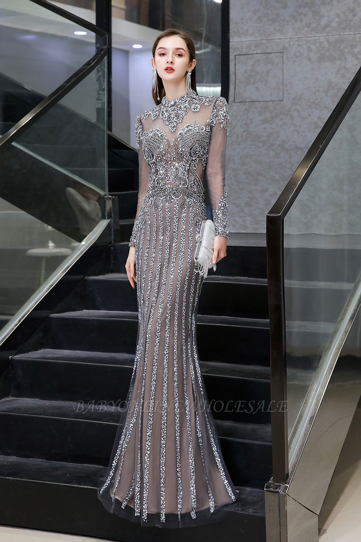Mangas de lujo de la chispa del casquillo cuentas de cuello alto vestidos largos de baile