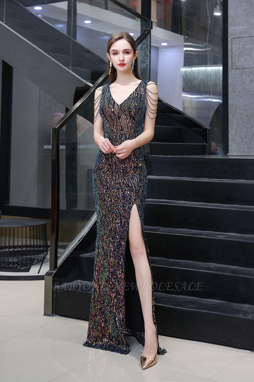 Vestido de noche negro sin mangas con escote en V y escote en V alto en línea