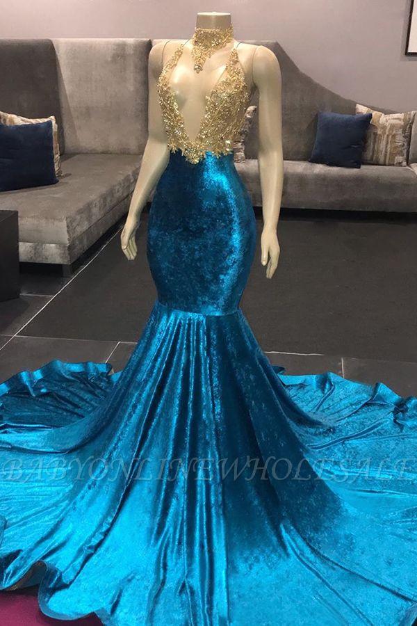 Ilusão pescoço alto decote sem mangas trem longo Appliqued sereia vestidos de baile