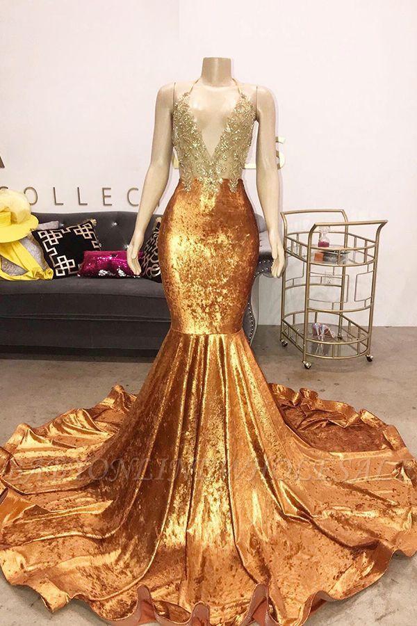 V-neck Halter Beading Sequins Court Train Mermaid Prom Dresses
