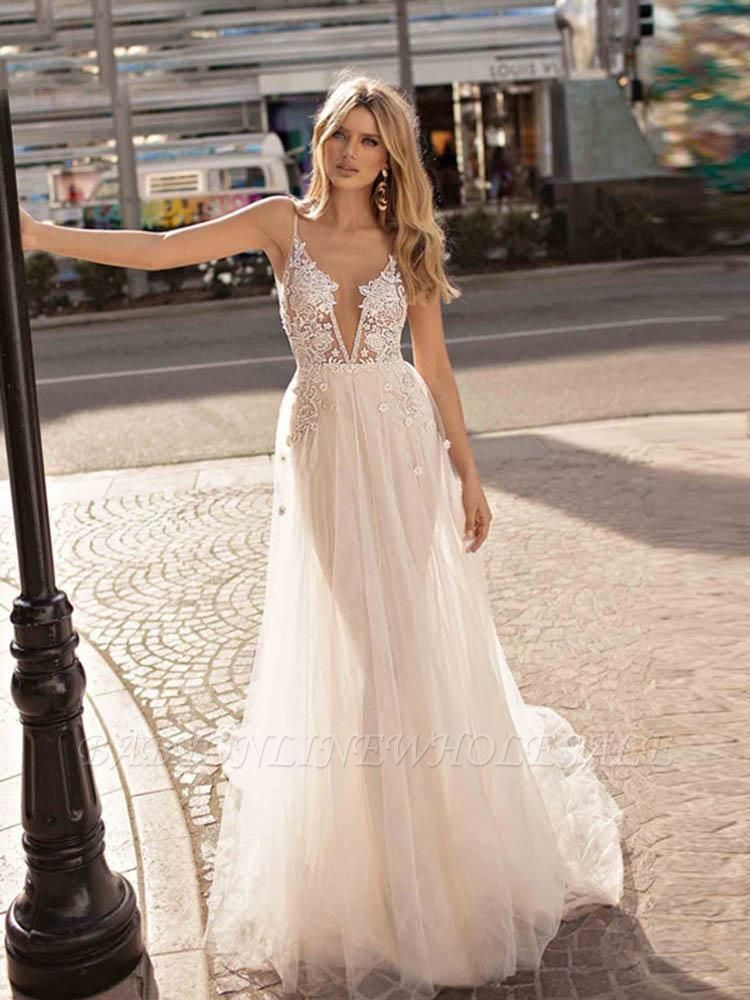Spaghetti Straps Deep V-neck Beads Wedding Dresses   Sexy Backless Tulle Bridal Gowns