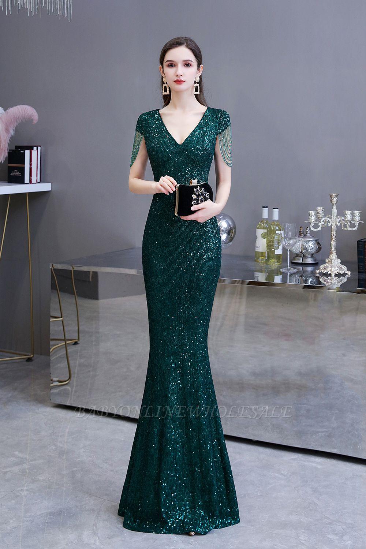 Shining Sequined Emerald Green Mermaid Cap sleeve Long Prom Dress