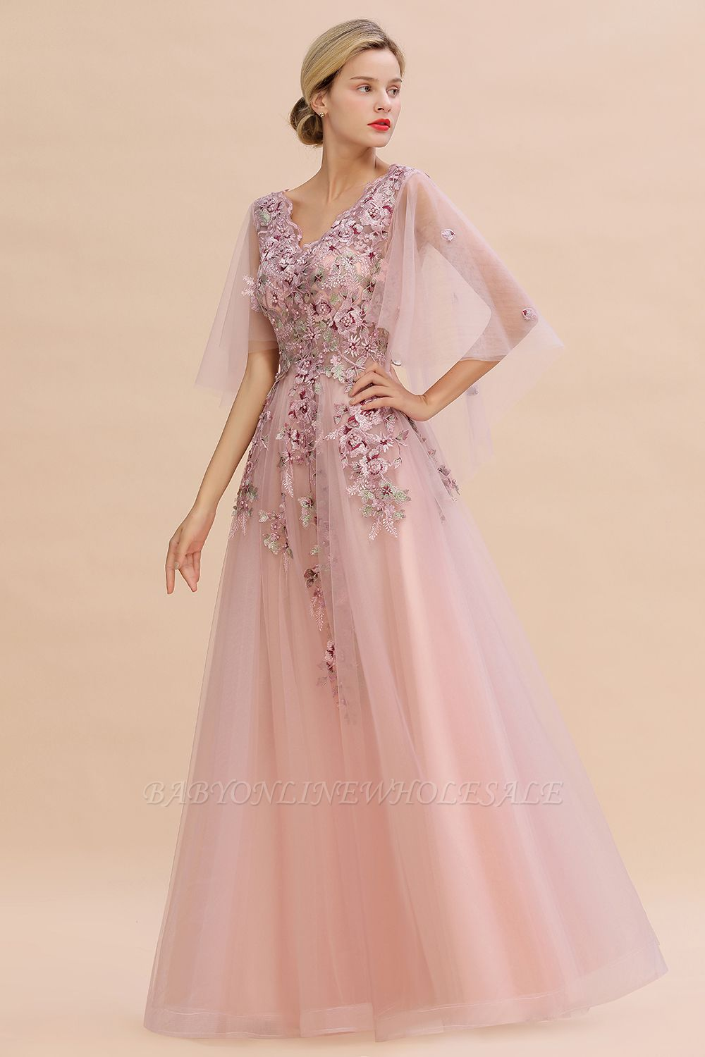 Ruffy Sleeves aline Romantic Tulle Evening Maxi Gown Pearl Lace Appliques Party Dress