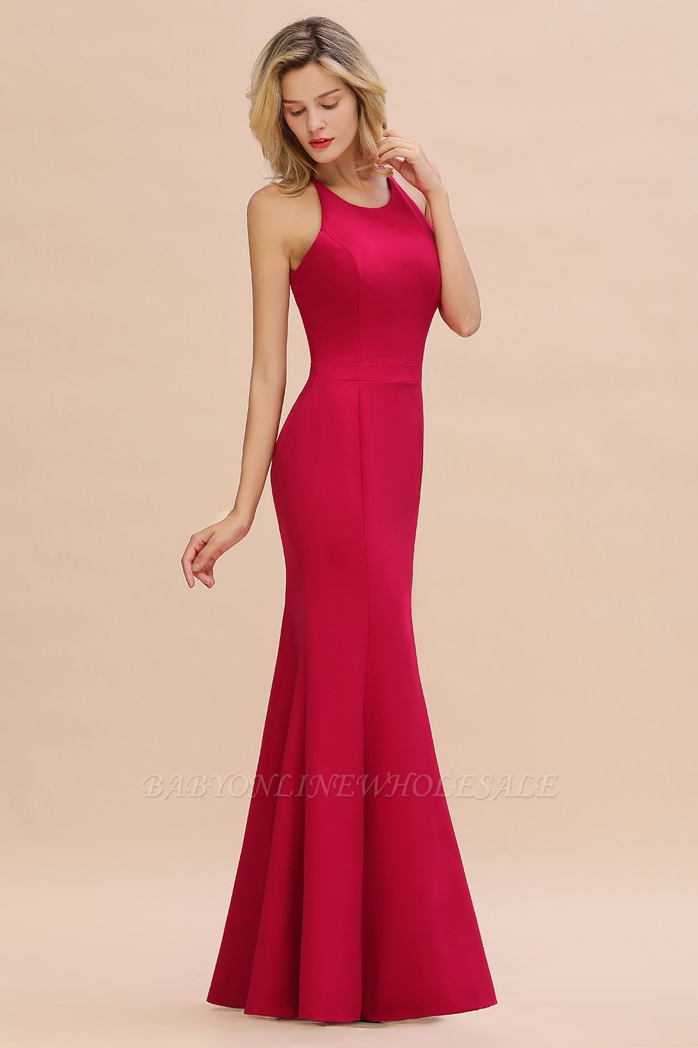 Sexy Halter Mermaid Evening Maxi Gown Side Slit Party Dress