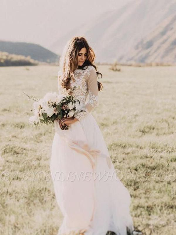 Chic Long Sleeve Tulle A-line Wedding Dresses | Appliques Floor Length Bridal Gowns