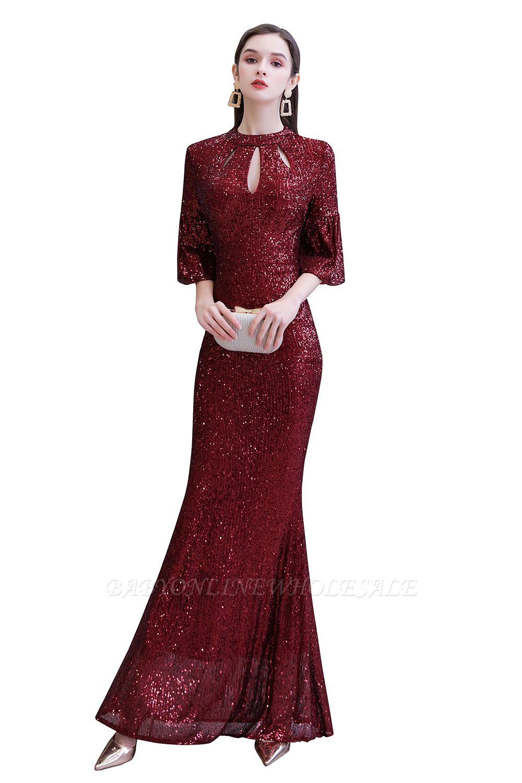 Glitzernde Half Sleeves Keyhole Mermaid Long Burgund Prom Kleid