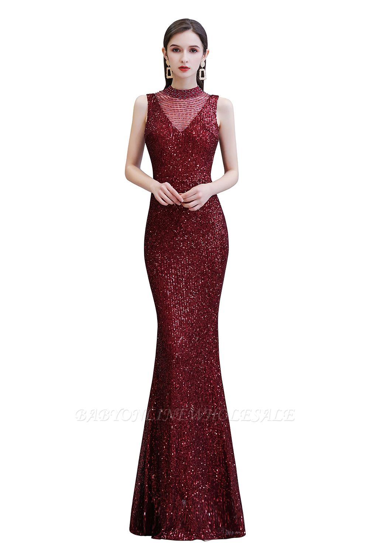 Élégante robe de bal sirène sans manches à col illusion bordeaux