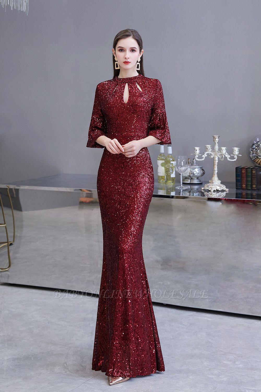 Glittering Half Sleeves Keyhole Mermaid Long Burgundy Prom Dress