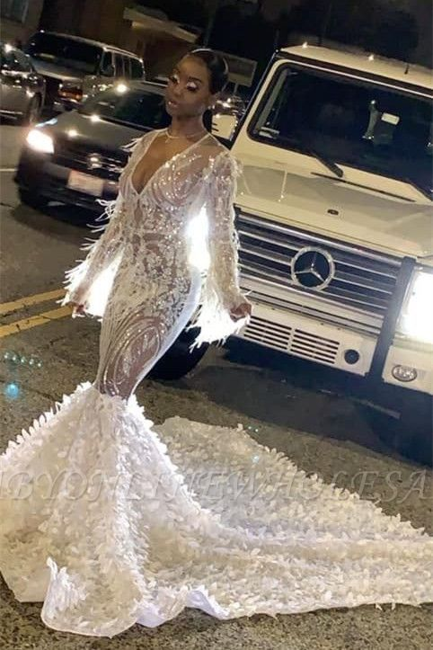 Sexy See-through V-neck Long sleeves Mermaid Prom Dress with Luxury Train