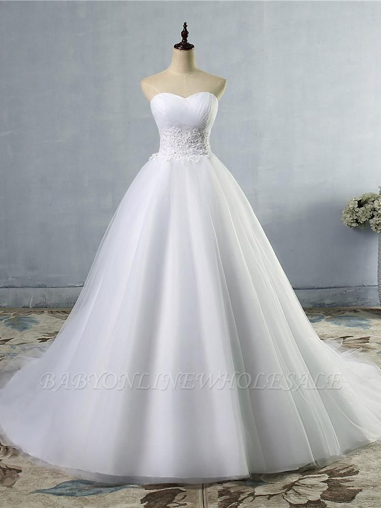 Strapless Lace Appliques Ball Gown Wedding Dresses   Sleeveless Bridal Gowns with Sweep Train