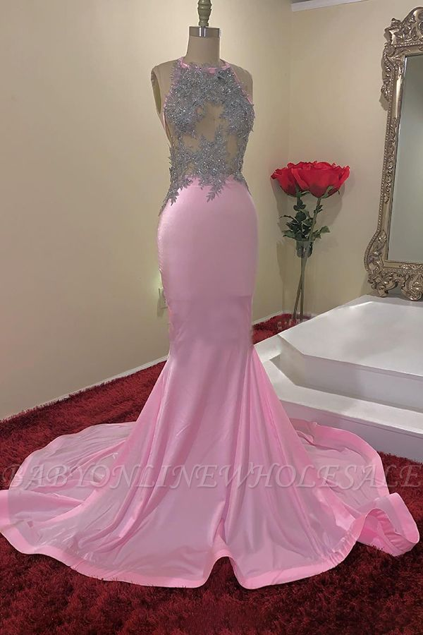 Illusion Top Appliques Halter Mermaid Long Evening Gowns