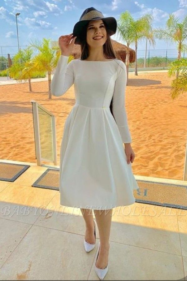 Retro White Boat neck Long Sleeve Princess Summer Homecoming Dress