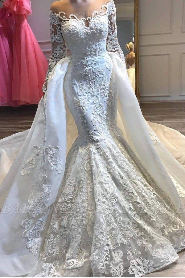 Charmantes robes de mariée mariage sirène appliques en dentelle avec train détachable