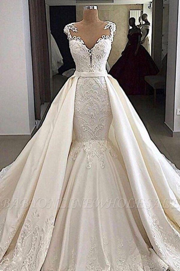 Cap sleeves White Mermaid 2 in 1 Wedding Dresses with Overskirt
