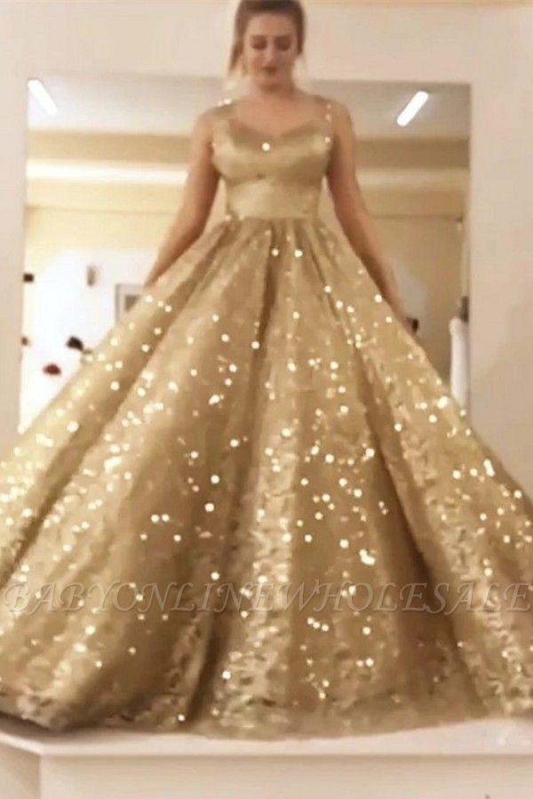 Sleeveless Straps Gold Sequin Ball Gown Long Sparkle Prom Dress