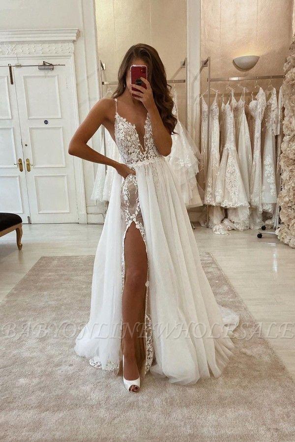 مثير البوهيمي الصيف شاطئ فستان الزفاف مع انقسام عالية