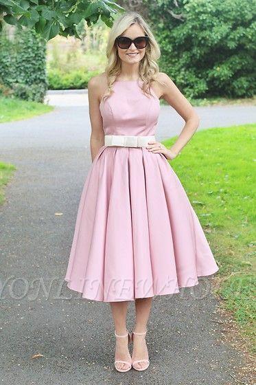 Light Pink Halter Sleeveless Summer Homecoming Dress with Belt