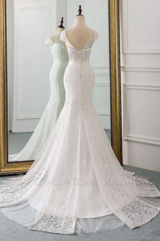 Elegant Cap Sleeve Aweetheart Floral Lace Slim Mermaid Wedding Dress Lace-up Wedding Party