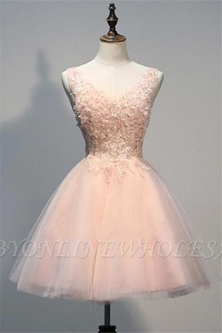 Pink Prom Dresses Evening Dresses Short With Lace Appliques A Line Tulle Evening Wear