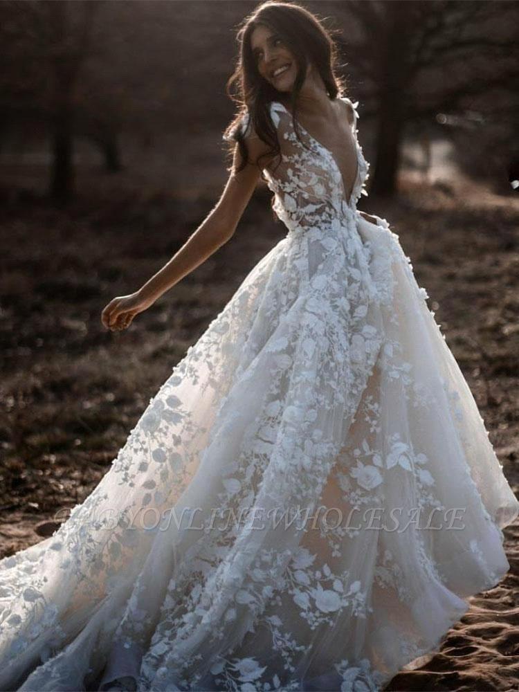 Romantische Elfenbein Spitze bodenlange A-Linie Puffy Princess Brautkleid