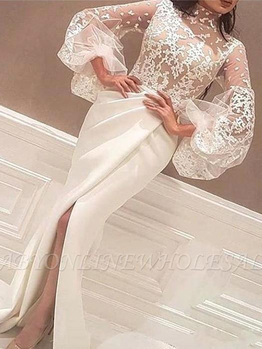 Robe de mariée sirène col haut en dentelle robe de soirée en satin à manches longues