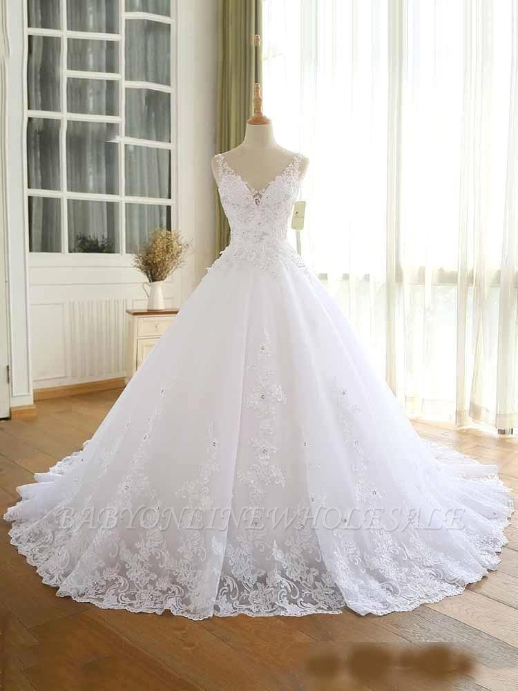 Vestidos de novia con cuentas de encaje de lujo 2021 Correas con cuello en V Vestido largo de baile Vestido de novia para fiesta de boda