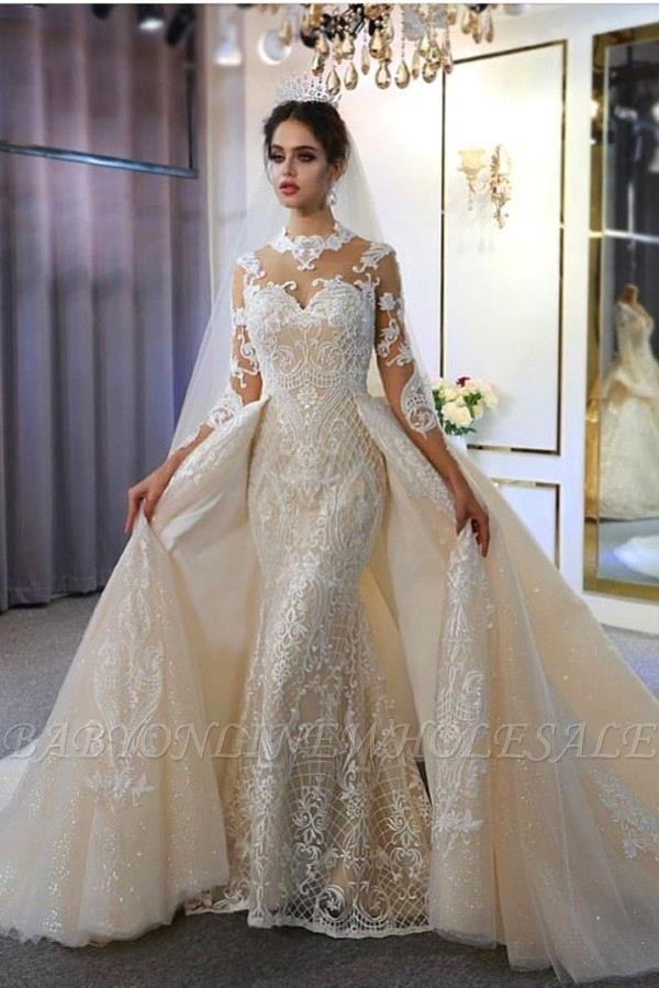 Vestido de novia marfil de encaje sirena de cuello alto de moda con sobrefalda