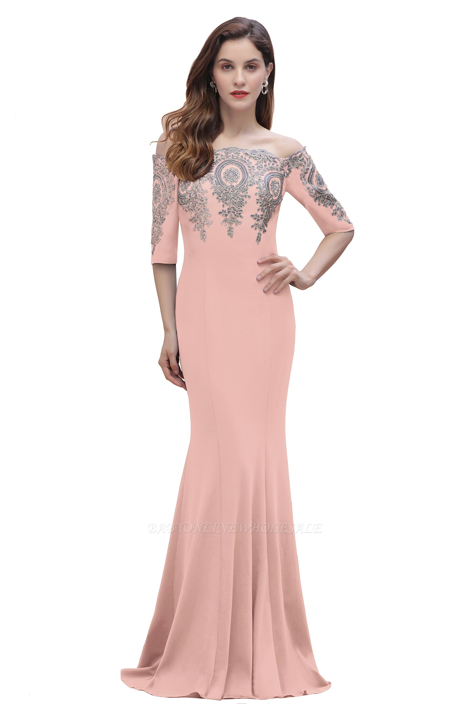 Off the Shoulder Half Sleeves Mermaid Evening Dress Gold Appliques Prom Dress