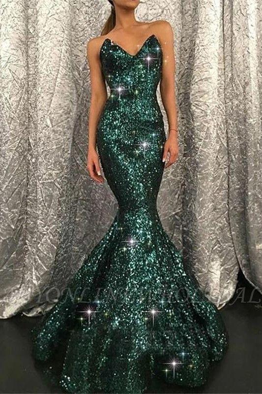 Sparkly-Sweetheart-Dark-Green-Pailletten-Meerjungfrau-Prom-Abendkleid