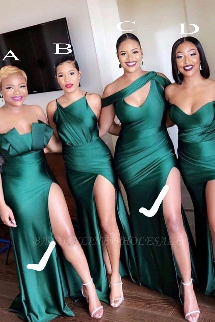 Unique Off-the-shoulder Strapless Emerald Green Elastic Satin Long Bridesmaid Dress